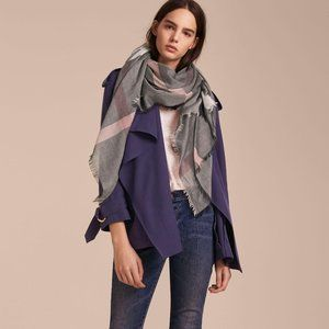 Burberry Modal Wool Giant Check Scarf Dark Trench
